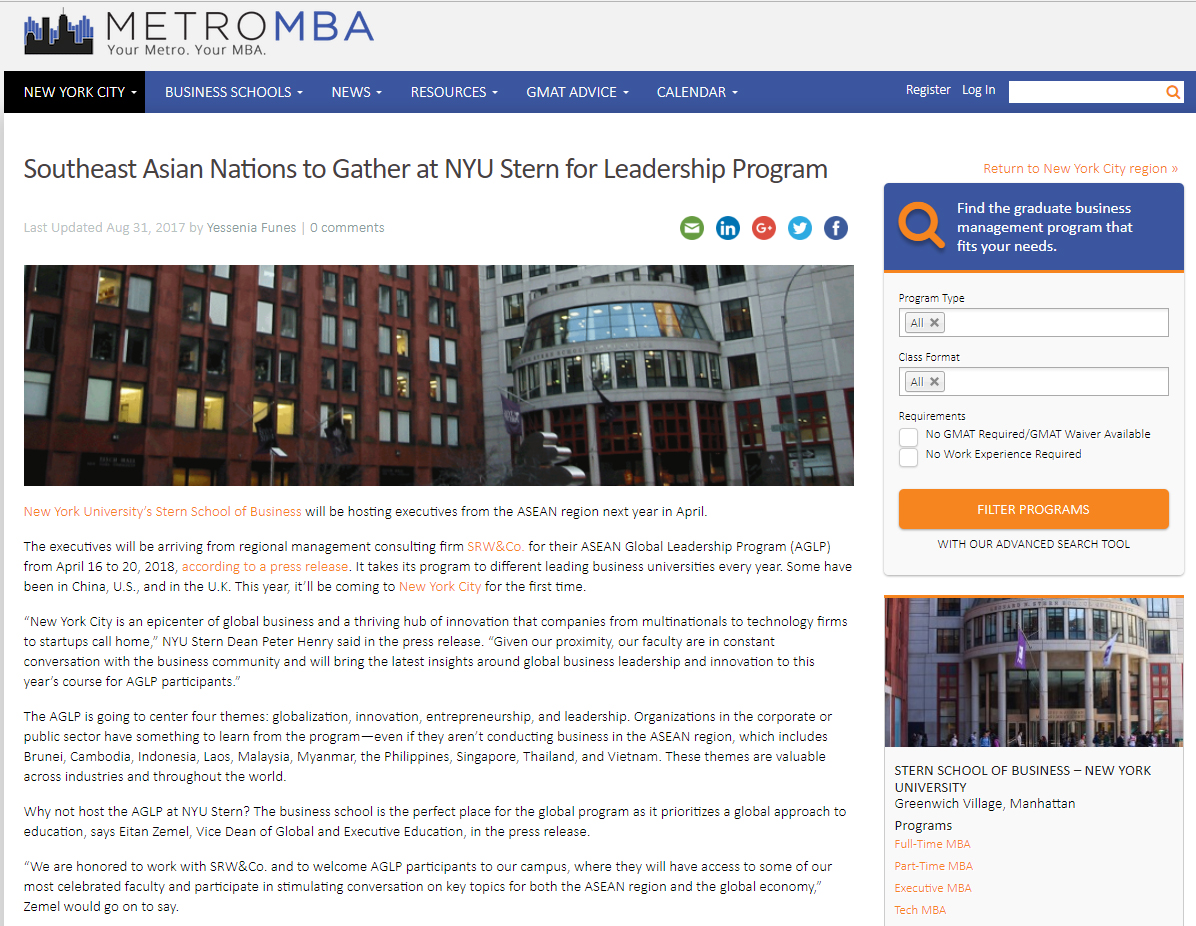 Southeast Asian Nations to Gather at NYU Stern for